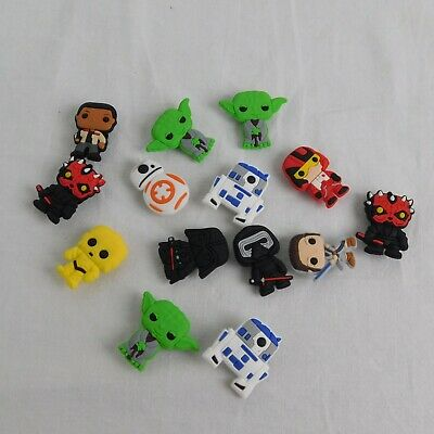 Lot of 14 Star Wars Jibbitz PVC Shoe Charms R2D2 C3P0 Darth Vader Yoda Rey BB8