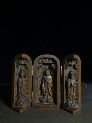 Collectable Ancient China Precious Boxwood Carving Three Buddha Exquisite Statue