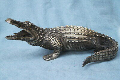 Collectable Noble Miao Silver Carving Roaring Crocodile Mighty Exquisite Statue