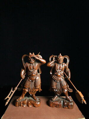 Collectable Handwork Boxwood Carving Clairvoyant Eye & Windward Ear Lucky Statue