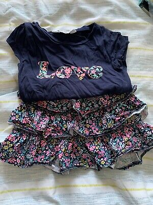 H&M Girls 2-4 Ruffle Ditsy Skirt And Love T-shirt Outfit Set Navy