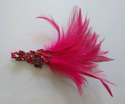 Accessorize Fascinator Hot Pink With Beaded Flowers And Feathers