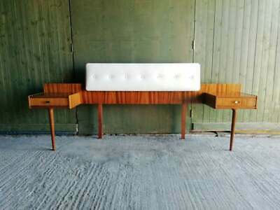 1950's Mid century Teak bed head with attached bedsides by Wrighton