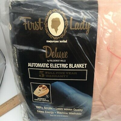 Nos First Lady Deluxe Twin Auto Electric Blanket Pink Ribbon Fieldcrest Mills