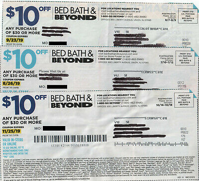 """Lot of 3 Bed Bath & Beyond Coupons: $10 Off $30 In Store, All """"Expired"""""""