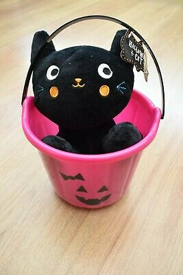 Bnwt Black Cat Plush + Halloween Pink Sweets Bucket Witch Goth Pagan