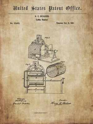 Antique coffee roaster 1846-64: hist. images for decoration / poster / mural
