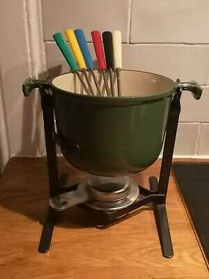 Green Le Creuset Fondue Set With Six Forks and original burner good condition