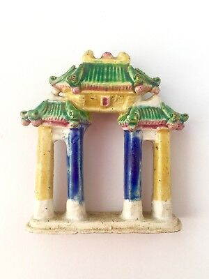 Vintage Chinese Oriental Mudman Arch House Statue Ornament Figure Yellow Green