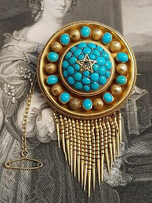 Antique Victorian Large 15ct Gold/Turquoise/Diamond Set Ornate Brooch-c1870's