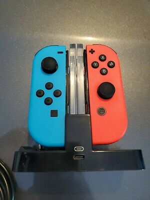 OEM Nintendo Switch Joy Con Controller Neon Blue RED LEFT + RIGHT Plus Extras