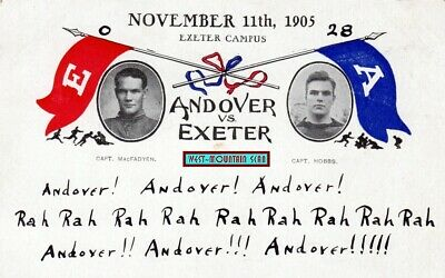 ANDOVER ME vs EXETER NH FOOTBALL GAME ~ EARLY 1905 CARD ~ SCARCE