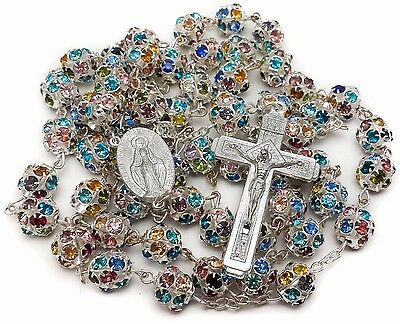 Colorful Zircon Beads Rosary Necklace Catholic Holy Miraculous Medal and Cross