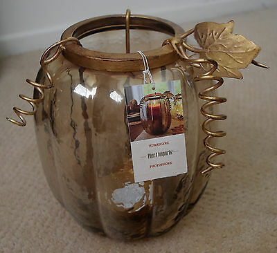 Pumpkin Pillar Candle Holder, New, Amber Glass, Golden Metal Trim,  Pier 1