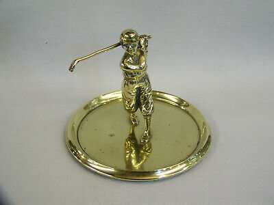 Antique Cast Brass Figural Golfing Golf Loose Change Jewellery Keys Dish Trophy.