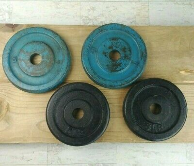 Vintage Barbell 5 LB Plate Weights Standard Cast Iron Unbranded Lot of 4 (20 lb)