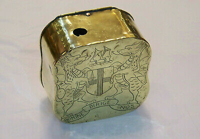 Large Antique Brass London Coat Of Arms Wall Hanging Honesty Ballot Or Post Box.