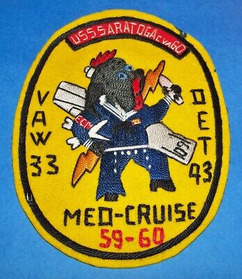 Large Original Italian Made Hand Embroidered Uss Saratoga 59-60 Med Cruise Patch