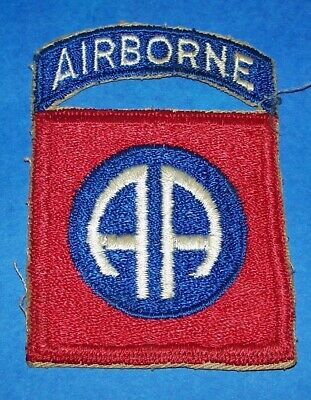 ORIGINAL CUT-EDGE 1960's 82nd AIRBORNE DIVISION PATCH & ATTACHED TAB OFF UNIFORM
