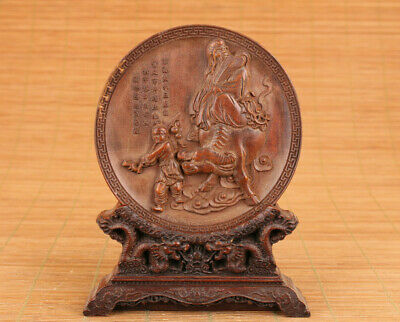 chinese old boxwood hand carved buddha figure statue netsuke plate + wood stand