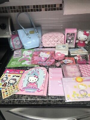Huge Lot of Sanrio Hello Kitty Stationary Ornaments Bags Stickers Bank Etc...