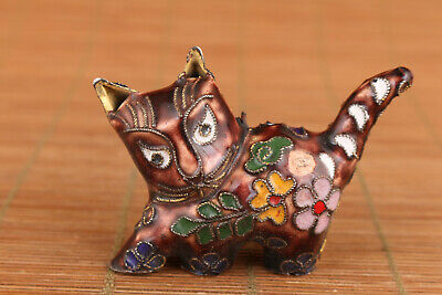 Chinese red cloisonne hand painting cat Statue figure