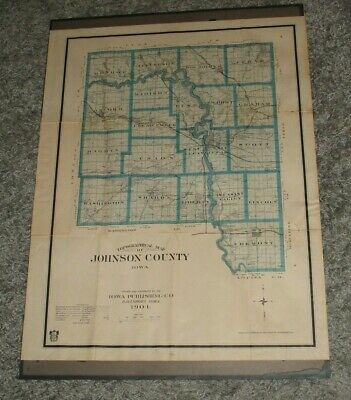 Antique 1904 Topographical Map of Johnson County,Iowa City by Iowa Publishing Co
