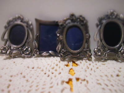 """Small Pewter Mini Metal Picture Photo Frames 2-1/2"""" Lot of 4 Vintage Victorian"""