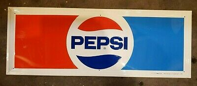 Vintage Stout PEPSI Embossed Metal Sign - New old Stock - 1982 - 31x11.5 - nos