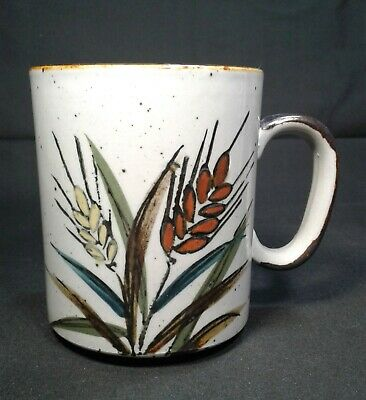 Vintage Ironstone Coffee Cup w/ Red & Yellow Wheat