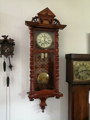 stunning large antique German Vienna wall clock c1880 weight driven turned wood