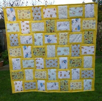 Handmade Patchwork Cot Quilt or Play Mat Winnie the Pooh Yellow Unisex