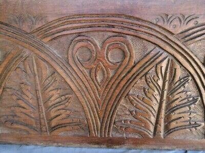 Large  17Th Century Oak Carved Lunettes Carving Panel