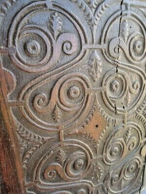 17Th  Century Oak Carved Panel Unusual (S) Carving