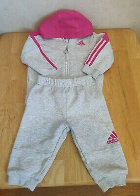 Baby Girls Grey/Pink Tracksuit  Adidas Size 6-9 Months Hoodie Joggers Bottoms