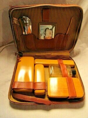 Vintage Men's Travel Grooming Dop Kit w/brush, 3 containers, etc.Genuine Leather