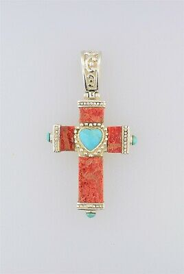 Fabuleux Taxco Croix Argent Sterling 925 Corail / Turquoise/Nacre