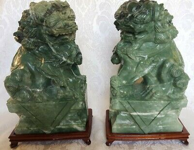 Heavy Chinese Jade Carved Foo Dog / Lion Statues/Bookends W/Stands &Orog.box 9""