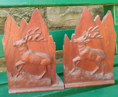 Antique Carved Wooden Black Forest Stag Bookends