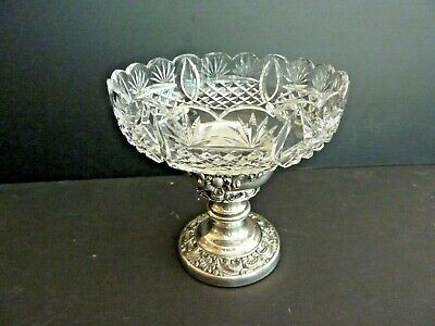 Vintage Crystal Glass Bowl Dish with separate Silver Plated Base