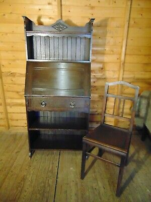 Antique oak 19th century carved fall front writing bureau with oak chair