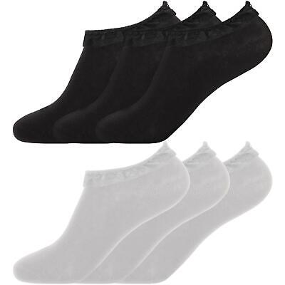 Girls Lace Trainer Liner Socks Frilly Lace Trim Ankle Fancy Dress Sock 3, 6 Pack
