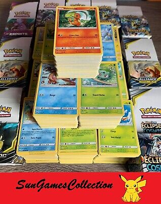 Lot de 100 Cartes Pokemon Sans Double Françaises + RARES + 5 BRILLANTES GROS PV