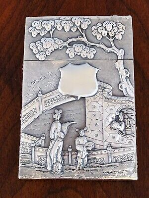 ~ Superb Wang Hing Chinese Sterling Silver Card / Cigarette Case Floral / Family