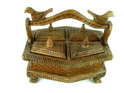 Antique Old Hand Carved Unique Wooden Kitchen Spice Box Asian