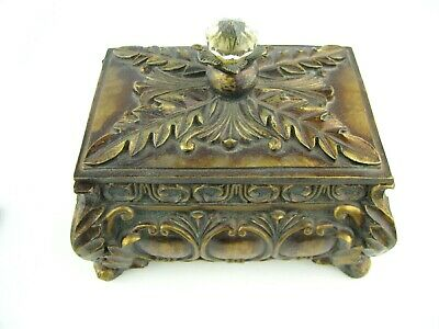 Lovely VTG Bronze Tone Ornate Decor Wooden Box with Lid - Crystal Knob