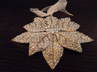 Bombay Co. Vintage Christmas Tree Ornament RARE Silver Flower metal large