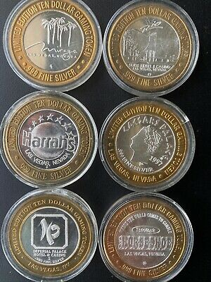 Casino Silver Strike Tokens 6 (Las Vegas) Rio,Mirage,Ceasers,I.P,Harrahs,Horsesh