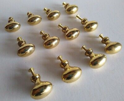 Oval Brass Knobs Lot of (12) Pulls Drawer Cabinet Handles Solid Heavy!