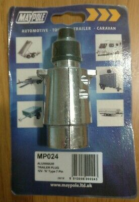 Maypole Aluminium Trailer Caravan Towing Plug | 12v N Type 7 Pin | MP024